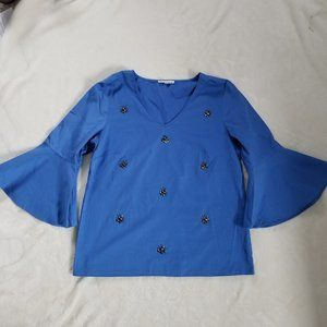 Bell Sleeve Embellished Cotton Top Blue | S